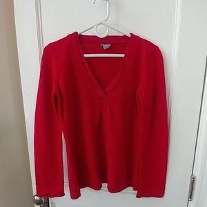 Merino wool Angora rabbit blend red v-neck sweater